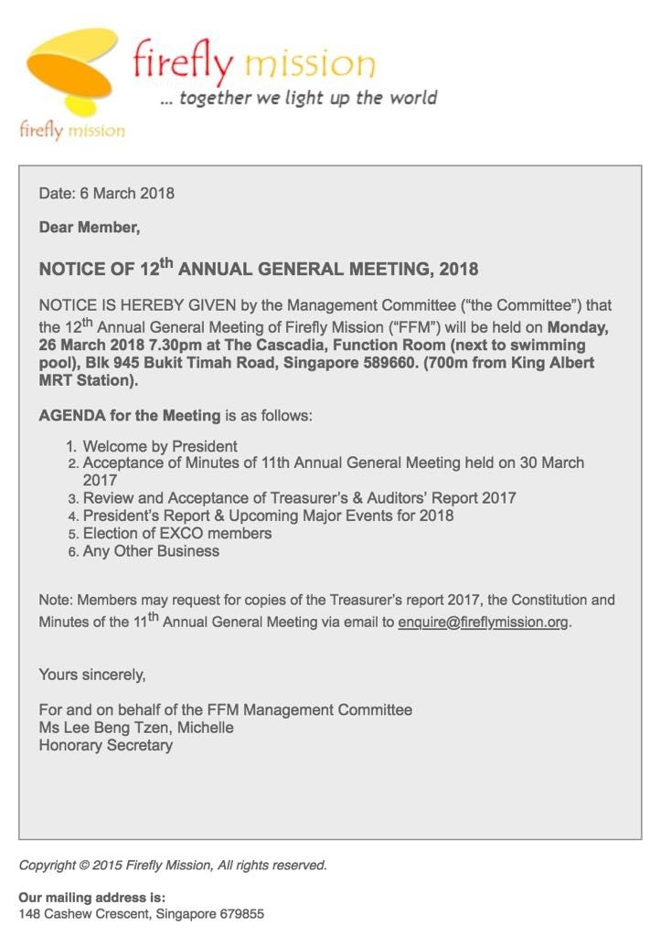 12th Annual General Meeting (AGM) of FFM @ The Cascadia, Function Room | Singapore | Singapore